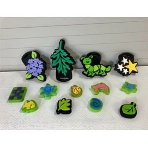 Craft Lot Of 13 Foam Chunky Stamps Flowers Insects